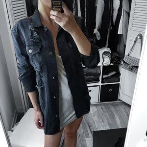 Jackets & Blazers - 🆕 Destroyed Black Wash Denim Longline Jacket